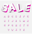 alphabet letters cut out from paper pink style vector image