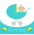 Baby blue carriage Its a boy Flat design style vector image