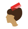 barbershop comb with female hair vector image vector image