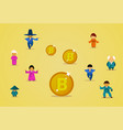 bitcoin mining technology group of asian people in vector image