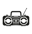 black and white boombox silhouette vector image vector image