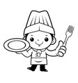 black and white cook mascot is holding a plate vector image