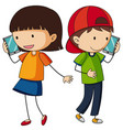 boy and girl talking on cellphone vector image