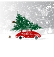 Car with christmas tree winter blizzard for your vector image vector image
