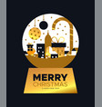 christmas and new year card gold city snowglobe vector image