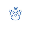 christmas cute angel line icon concept christmas vector image vector image