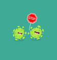 corona viruses with stop sign graphics vector image