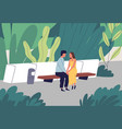 couple having romantic date at summer park vector image vector image