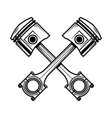 crossed motorcycle pistons design element for vector image vector image