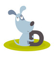 cute animal alphabet with dog vector image vector image