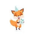cute fox character in party hat holding gift box vector image vector image