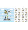 cute giraffe ride scooter and seamless pattern vector image vector image