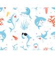 cute sharks pattern funny cartoon shark seaweed vector image vector image