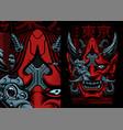 cyberpunk samurai vector image vector image