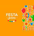 festa junina party decoration cartoon card vector image