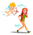 frightened teen girl running from valentine s day vector image