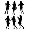 funny girl silhouettes vector image vector image