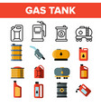 gas petrol tank linear icons set vector image