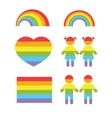 Gay pride rainbow heart and colors shapes vector image vector image