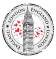 Grunge love heart stamp London Great Britain vector image vector image