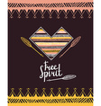 Hand drawn aztec style heart Tribal design vector image