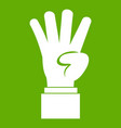 hand showing number four icon green vector image vector image
