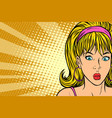 kitsch woman surprised girl blonde vector image vector image