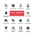 legal services - line design silhouette icons set vector image