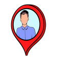 map pointer with businessman icon cartoon vector image vector image