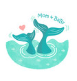 mothers day card with whales vector image vector image