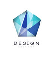 original crystal logo in gradient blue color vector image vector image