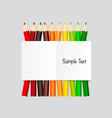 Paper note with color pencils background vector image