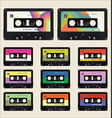 Pattern with old audio cassettes colorful