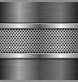perforated background on metal brushed background vector image vector image