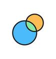 pie chart intersecting circles venn diagram flat vector image vector image