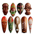realistic african masks set vector image vector image