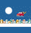 santa flying sleigh car over winter town at night vector image vector image