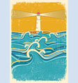 sea waves and lighthouseAbstract on old paper vector image vector image