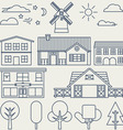 set linear elements and icons with buildings vector image vector image