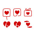 set of donation icons with love concept vector image vector image