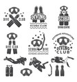 silhouette scuba and divers labels for sea vector image