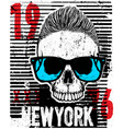 skull fashion tee graphic design vector image