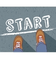 Start line young man begin way vector image