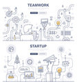 Startup and Teamwork Doodle Concepts vector image vector image