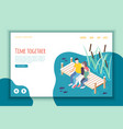 time together isometric landing page vector image vector image