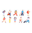 touristic characters travelers people travelling vector image vector image