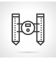 Unmanned floating robot black line icon vector image vector image