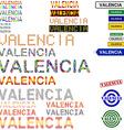 Valencia text design set vector image