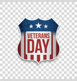 veterans day greeting shield with text vector image vector image