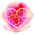 white decorative heart on pink ink blot vector image